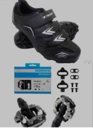 Sapatilha TSW + Par de pedal Clip Shimano (NOVOS NA CAIXA, NUNCA USADOS)