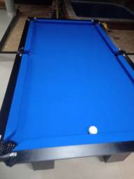 Mesa Charme de Sinuca e Bilhar Cor Preta Tecido Azul Mod. VYXX8691