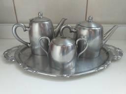 Raríssimo e muito antigo Jogo de chá / café. Fracalanza em aço inox (Itajaí)