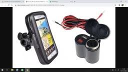 Tomada 12v 5v Usb Adaptador Carregador Celular Motos + Bolsa
