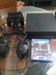 Ps4 + 2 controles, FIFA 21, Fone HyperX
