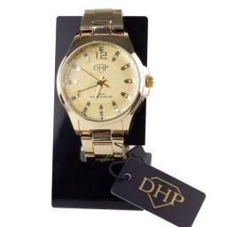 Relógio Analógico Feminino Dhp Quartz Rdh2 a Prova D'água Pulseira em Aço Dourado