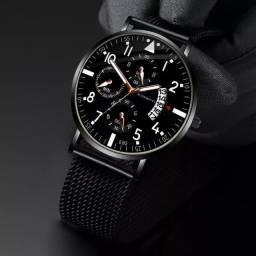 Título do anúncio: Relógio masculino analógico ultrafino, relógio de pulso com pulseira de malha metálica