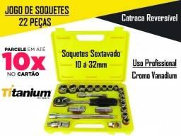 Jogo De Chave Soquete Catraca Pito Profissional 1/2 Pol 10 A 32mm