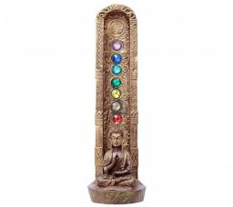 Incensário Buda De Resina 7 Chakras - Marrom