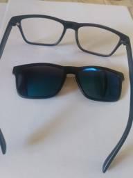 Oculos com armação para lente com clip azul de sol