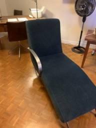 Chaise Longue de veludo azul