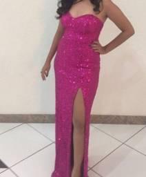 Vestido longo lantejoula pink