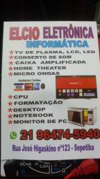 , consertos de tvs ( led,lcd, plasma, tubo), microondas, som ...