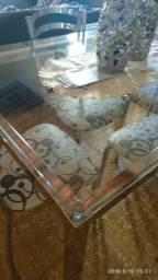 Vendo mesa de inox com 4 cadeiras