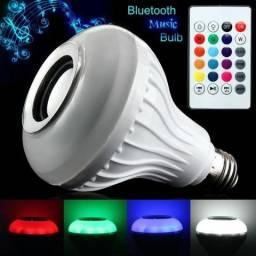 Lâmpada Led Toca Som Bluetooth, Colorida e com Controle Remoto ! Top !!! Bivolt !!