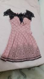 Vestido Curto rosé e Preto