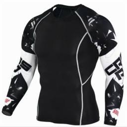 Conjunto calça e camisa de compreensao jiu jitsu rash guard ciclistas e musculaçao