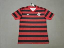 Camisa Flamengo I 19/20 s/nº Torcedor s/ Patrocínio Adidas Masculina - Vermelho e Preto