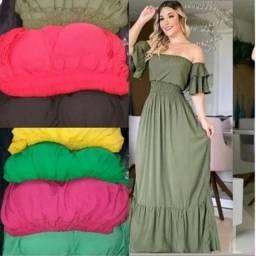 Vestido longo na cor verde