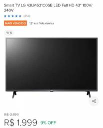 TV LG Smart 43 polegadas 3 meses de uso