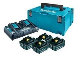 4 Baterias 18v 5ah Makita + Carregador Duplo Dc18rd 110v