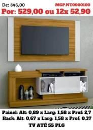 Rack com Painel de televisão até 55 Plg- Estante de TV- Descontasso