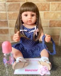 Título do anúncio: Linda Bebê Reborn toda em Silicone realista Cabelão Nova 55cm Original (aceito cartão)