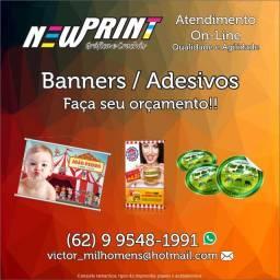 Título do anúncio: Adesivos, Banners, Cartões de visitas, Panfletos, Crachás e Materiais Gráficos em Geral.