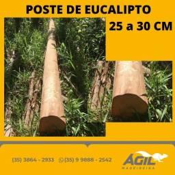 Poste de Eucalipto sem tratamento de 25 a 30cm/12 mt - Ágil Madeireira