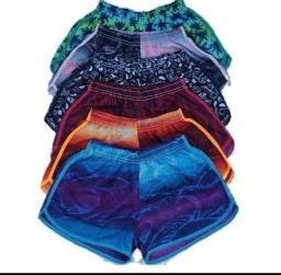 Shorts Tactel Feminino Adulto - Kit com 3 unidades