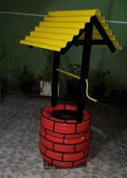 Floreira de pneus formato de poço