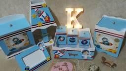 Kit Higiene Bebê Astronauta Baby Blue