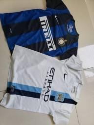 Camisas Inter de Milão e Manchester City Infantil Tam P Originais