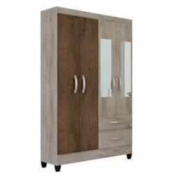 Guarda roupa 4 portas espelhos e pés novo na caixa entrega grátis
