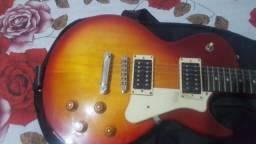 Guitarra Cort Cr100 Les Paul Pool Preta Corpo Em Mogno