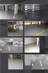 Aplicação de epóxi em oficinas e estacionamentos