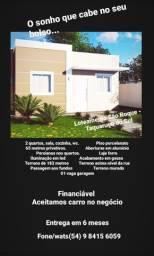 Casa nova 02 quartos nova/porcelanato/laje