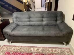 Sofá cinza de suede novinho