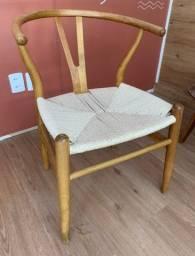 4 Cadeiras Wishbone (Conjunto) em Madeira Carvalho com Assento na Cor Palha