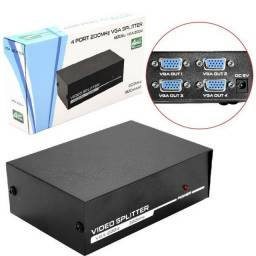Splitter Vga 4 Portas Monitor Repetidor Distribuidor A Mesma Imagem em 4 Monitores