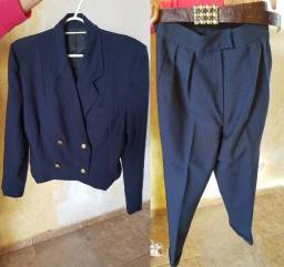 Título do anúncio: Conjunto Blazer de Linho Feminino Azul Tamanho M