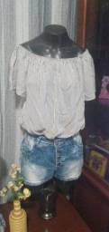Título do anúncio: Blusa Ciganinha em Viscose Listrado - Tam. M