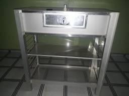 Mesa com gaveta de aluminio e vidro seminova