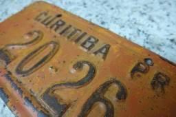 Placa Antiga De Carro Laranja Rara Curitiba-pr