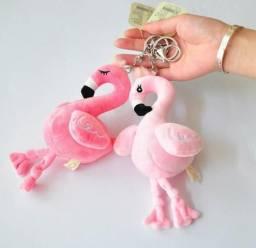 Chaveiro Flamingo Miniatura Pelúcia Pássaro Meninas Jardim