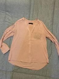 Camisa feminina rosa claro