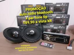 Kit auto rádio bluetooth + fone 6p entrega grátis