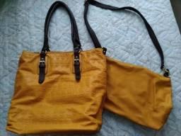 Bolsa amarela com alça marrom