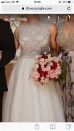 Vestido de noiva, bordado saia com seda italiana