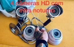 4 câmeras HD com infra noturno
