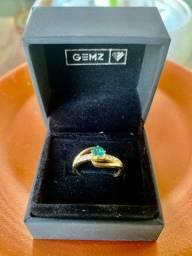 Lindo Anel ouro 18k + Pedra Aguas Marinhas + Brilhantes