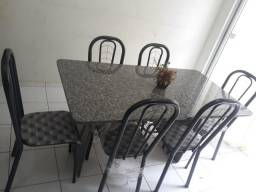 Mesa em granito 6 cadeiras nova, com nota fiscal