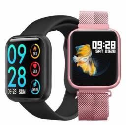 Smartwatch Inteligente Relógio Tfit P70 2 Pulseira Aço+puls Extra