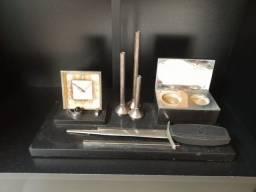 Título do anúncio: Tinteiro de granito e prata, para canetas bico de pena